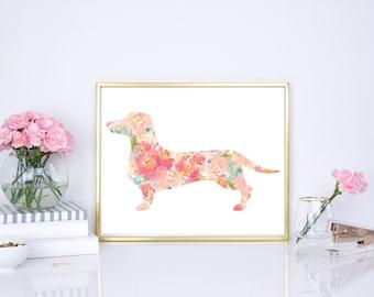 Dachshund watercolor floral dog print, modern nursery print, boho chic nursery print, pink nursery print, pink wall decor, floral print 8x10
