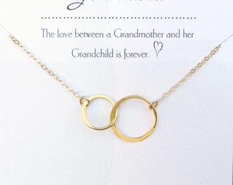 Grandma Gift Necklace, New Grandmother Gift, Grandmother Granddaughter Jewelry, From Granddaughter, Gold, Sterling Silver, or Rose Gold
