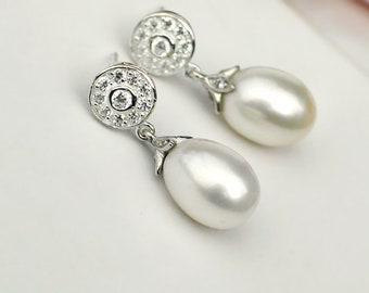 Pearl Earrings | Large White Freshwater Drop Pearls | CZ Pavé Round Sterling Silver Studs | Vintage Style | Bridal Jewelry | Ready to Ship
