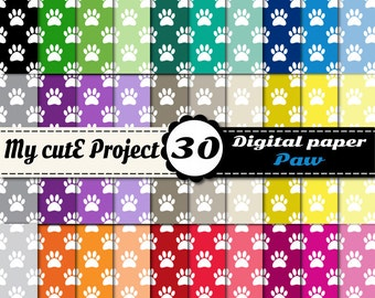 Paw Prints - Instant Download - DIGITAL PAPER -  A4 & 12x12 inches - Blog background -  Scrapbooking - Animal paw prints