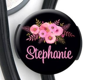 Stethoscope Tag - Pink Floral Black Bkgd - Personalized Name Badge Reel, Steth Tag, Lanyard, Carabiner Nurse Badge / Steth ID / LPN / RN