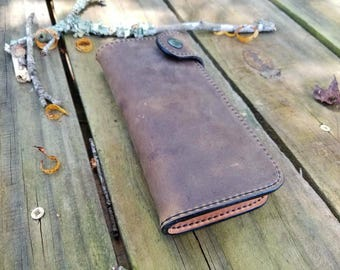 Handcrafted Checkbook Wallet with snap closure