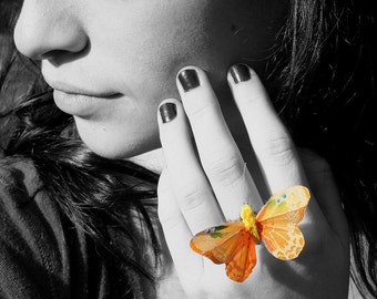 Butterfly Ring - Medium Light Orange Feathers by Smash Gardens on Etsy Bridesmaids Gifts, Bridal Party Accessories, Woodland Wedding