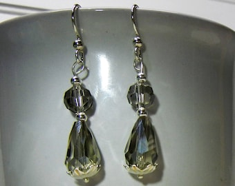 Sterling Silver .925 With Smoked/Clear Faceted Glass Bead Earrings Handcrafted