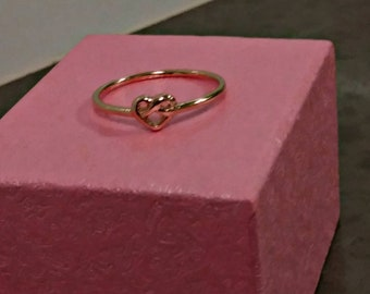 14k heart knot ring. Dainty.stacking ring.