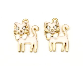 2 cat pink enamel gold charms, 18mm x 24mm # CH 034