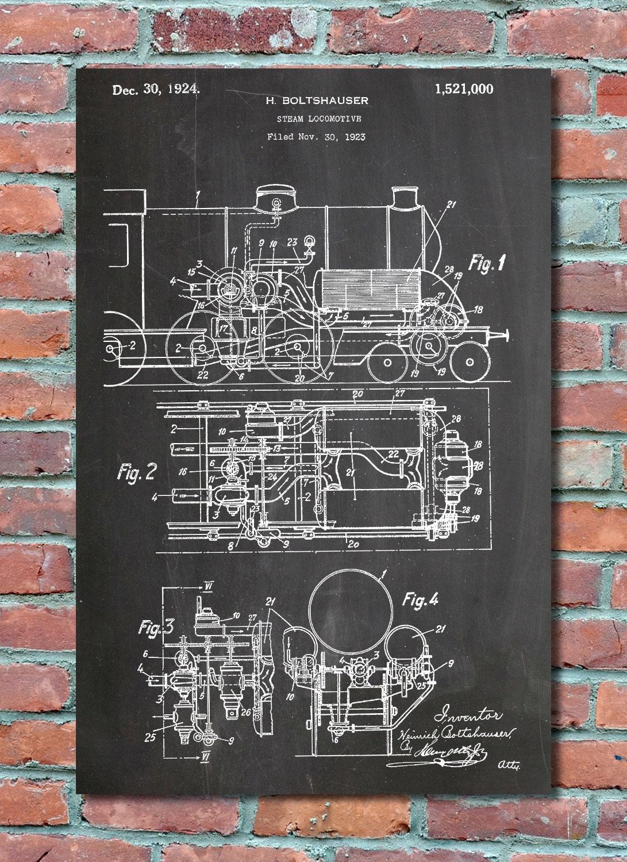 Steam locomotive patent wall art print train patent art zoom malvernweather Gallery