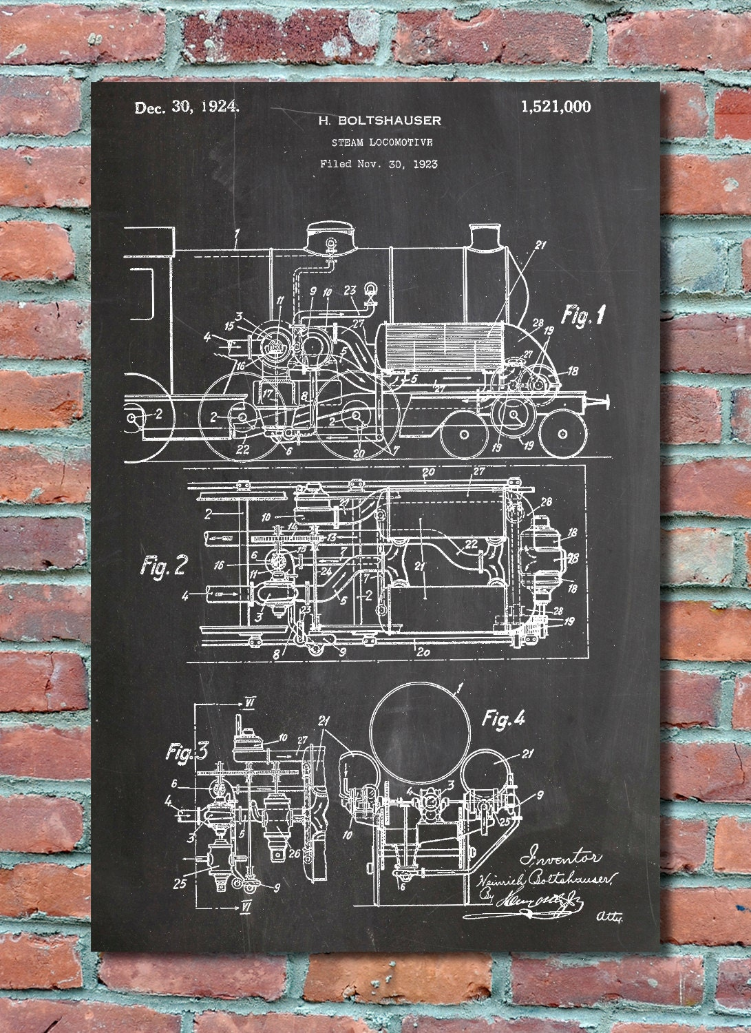 Steam locomotive patent wall art print train patent art zoom malvernweather Image collections