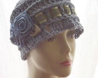 "Cotton Cloche 1920s Flapper Sun Hat Satin Roses  ""Misty"""