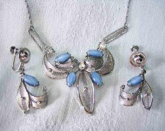 Vintage Sterling Enzell Filigree Moonstone Rhinestone Necklace Earrings
