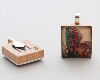 Brown Butterfly - Scrabble Tile Pendant