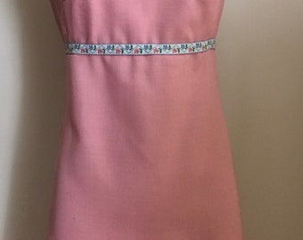 1960's Pink Sleeveless Empire Waist Dress/Shift with Embroidered Ribbon Appliqué/Mid Century/Mod