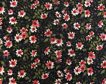 """100% Organic Rayon Challis Ditsy Floral Print Fabric By The Yard 58"""" Width"""