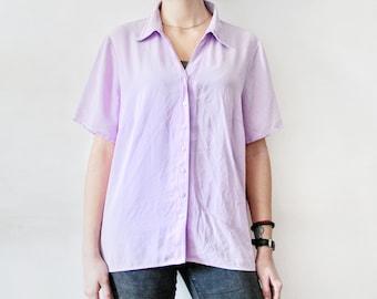 VINTAGE Lavender Shirt Lavender Blouse Lilac Blouse  70s Lilac Short Sleeve Blouse 70s Purple Blouse Purple Shirt Lavender Short Sleeve Top