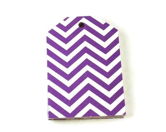 Large Paper Gift Tags in Purple Chevron Set of 20