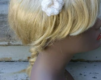 Crochet white rose hair clip