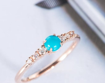 Turquoise Engagement Ring Rose Gold Diamond Cluster Ring Round Cut Wedding Ring Modern Stacking Promise Bohemian Mother Customize