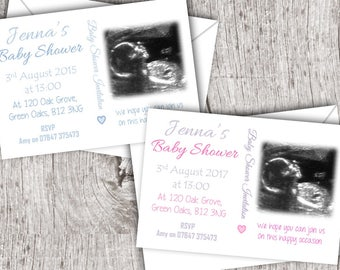 Printed Baby Shower Invitations inc. envelopes - Flat Style - Personalised Your Scan
