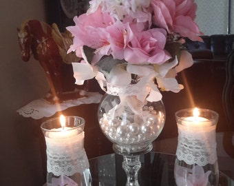 Floral Shabby Chic Wedding Centerpiece with Floating Candle Set