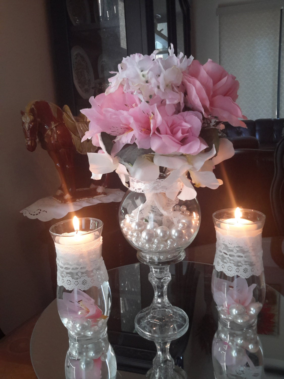 Vintage shabby chic wedding centerpiece with floating candle zoom reviewsmspy