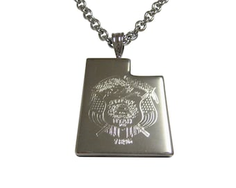 Utah State Map Shape and Flag Design Pendant Necklace