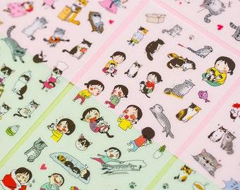 Korean version creative transparent PVC sticker cute cat diary album stick sticker account sticker 6 stickers - SM90602