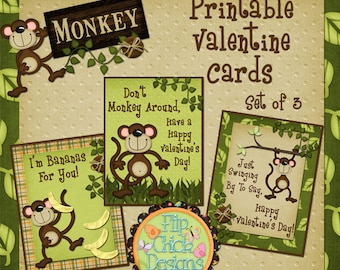 Monkey Printable Valentine Cards