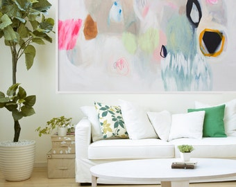 """Large white, beige and light green abstract Giclée PRINT of painting, original modern print, expressionist print of painting """"Magic Hour"""""""