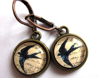 Mothers Day Swallow Bird Earrings Retro Fashion Jewelry
