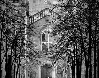 Wooded path to Church, black and white beauty limited edition on 8x10 printed canvas MasonphotographyCo