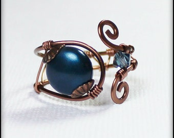 Forever in Blue Jeans... Handmade Jewelry Ring Beaded Wirework Wire Wrapped Antique Copper Crystal Pearl Denim Indigo Adjustable Size 7-8