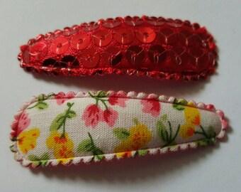 Toddler/Child/Adult Snap Hair Clip Set of 2 - Sequin & Floral - Red  - 5 cm - 50 mm