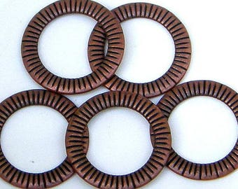 "Antique Copper Finish, 24 mm (1""), Closed, Soldered Jump Rings, Connector, 5 count (JRC-24-C)"