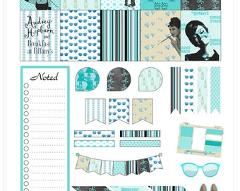 Audrey Hepburn Inspired Planner Printable Stickers/ECLP/A4/Letter/PNG/