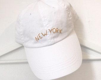 hand embroidered white new york ball cap