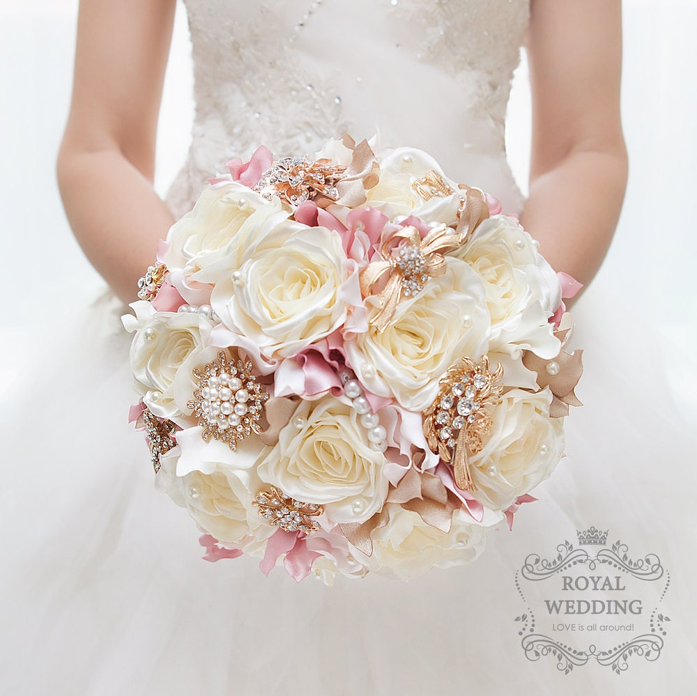 Jackie Fo Champagne Blush And Gold Wedding Inspiration: Silk Flower Brooch Bouquet Ivory Rose Gold Wedding Bouquet