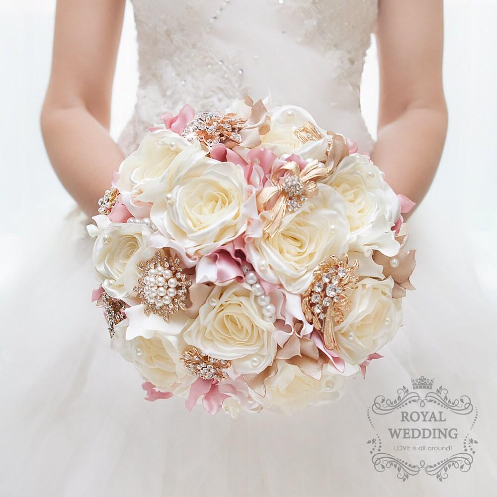 silk flower brooch bouquet ivory rose gold wedding bouquet. Black Bedroom Furniture Sets. Home Design Ideas