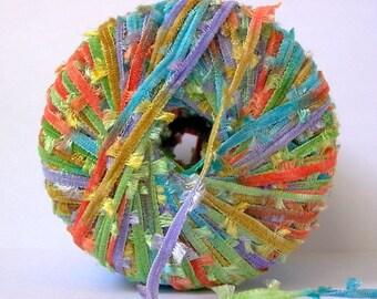 di.Ve velvet bow tie ribbon yarn . spring . 51yd . orange lime robins egg blue lavender butterfly fringe flag fancy italian novelty yarn