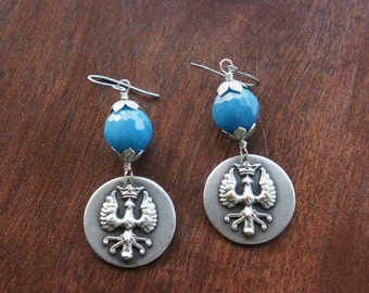 Crowned Eagle Antique Assemblage Earrings