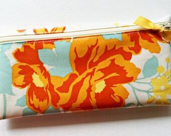 Cash envelope system budgeting wallet with 6 tabbed dividers // aqua & orange floral designer laminated cotton