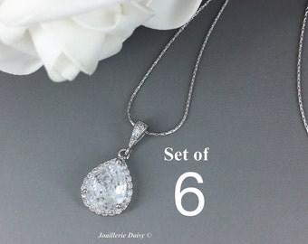 Set of 6 Necklace Bridesmaid Jewelry Cubic Zirconia Jewelry Gift for Maid of Honor Crystal Necklace Bridesmaid Gift for Mom Wedding Jewelry