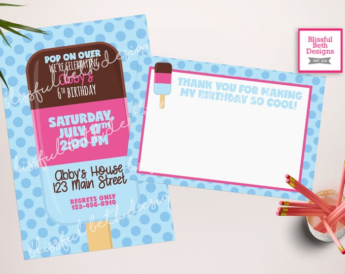 Popsicle Birthday Invitation, Pop on Over Birthday Invitation, Girl Popsicle invite, Popsicle Party, Popsicle, summer party invite