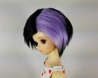 7/8 Black & Purple Faux (Fake) Fur Wig for MSD Boy and Girl BJDs