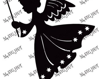 Christmas Angels with Wand  template
