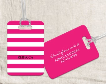 Hot Pink Luggage Tag - Custom Metal Luggage Tag - Personalized Luggage Tag - Travel Tag - Travel Accessory - Gift for traveler or graduation