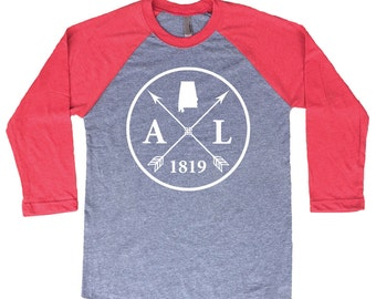 Homeland Tees Alabama Arrow Tri-Blend Raglan Baseball Shirt