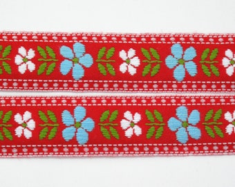 "Blue & White Daisy Floral on Red Jacquard Ribbon Vintage Sewing Trim,  Tyrolean Trim 7/8"" wide - 3 yards - Millinery, Haberdashery"