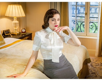 A French satin silk Blouse, very retro glamour