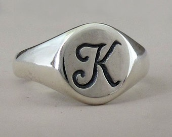 Signet Ring in Sterling Silver with Custom Initial Letter