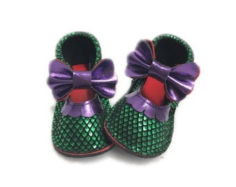 Mermaid mary janes, girls moccasins, mermaid baby shoes,  moccasins with hard rubber sole